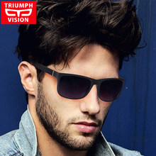 e0d9264050c TRIUMPH VISION Square Sunglasses Men Brand Designer Gradient Black Shades  UV400 Protection Sun Glasses For Men New Cool Oculos