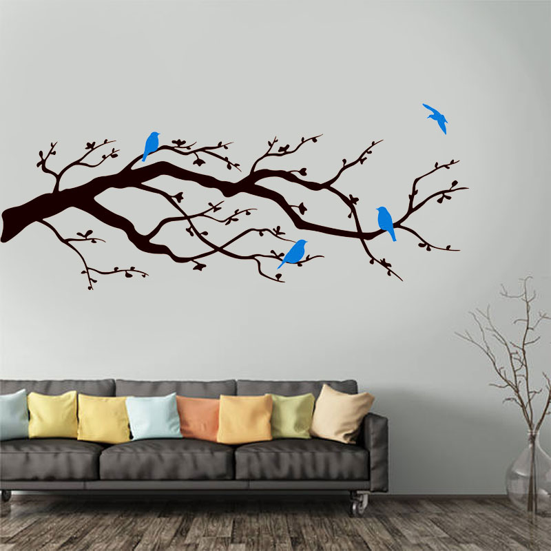 CHERRY BLOSSOMS BRANCH WITH BIRDS Vinyl Wall Decal Decor Art Sticker TREE NATURE