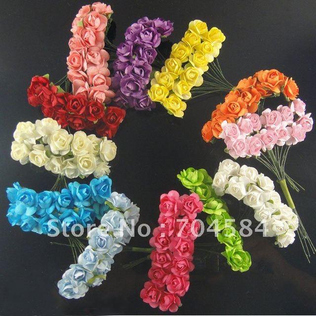 MIX 12 COLOR Artificial paper rose flower bouquet / DIY ORNAMENT YOU ...