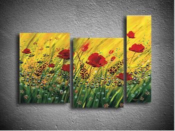 Bella enorme astratta moderna di arte della parete pittura a olio su tela fiori 3 P pittura della decorazione della casa (Senza cornice)