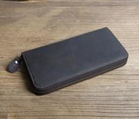 Vintage Fashion Long Men Wallet Crazy Horse Leather Brand Design Phone Pocket Coin Purse Male Clutch
