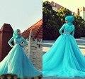 Лучший дизайнер лонг-мусульманам рукавом свадебные платья мусульманские женщины одеваются фотографии синий исламская свадебные платья платья с хиджаб 2016