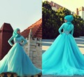 Best Designer Long Sleeve Muslim Wedding Dresses Muslim Women Dress Pictures Blue Islamic Wedding Gowns Dresses with hijab 2016