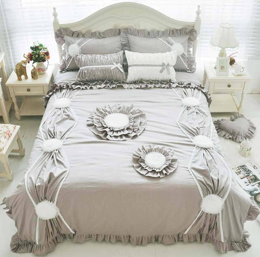 Twin white ruffle bedding - Princess Gray White Pink Green Bed Set Girl Twin Full King Queen Fairyfair Home Textiles Cotton Bed Dress Pillowcase Quilt Cover