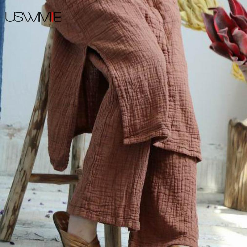 USWMIE 2018 Summer Trousers Women New Literature Solid Color Elastic Waist Pockets Loose Comfort Joker Plus Size   Wide     Leg     Pants