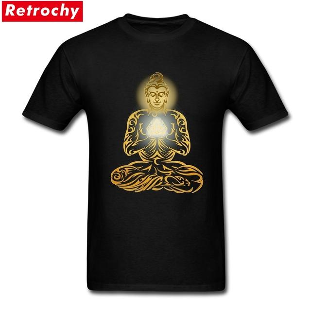 Buddha T Shirts Men Gautama Short Sleeved O Neck Peruvian Cotton