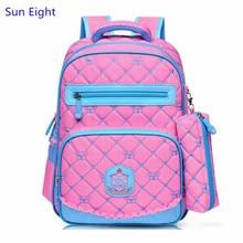 Sun Eight pink bag lattice school bags for girls kids backpack grid pen pencil bag boys school backpack blue schoolbag wholesale