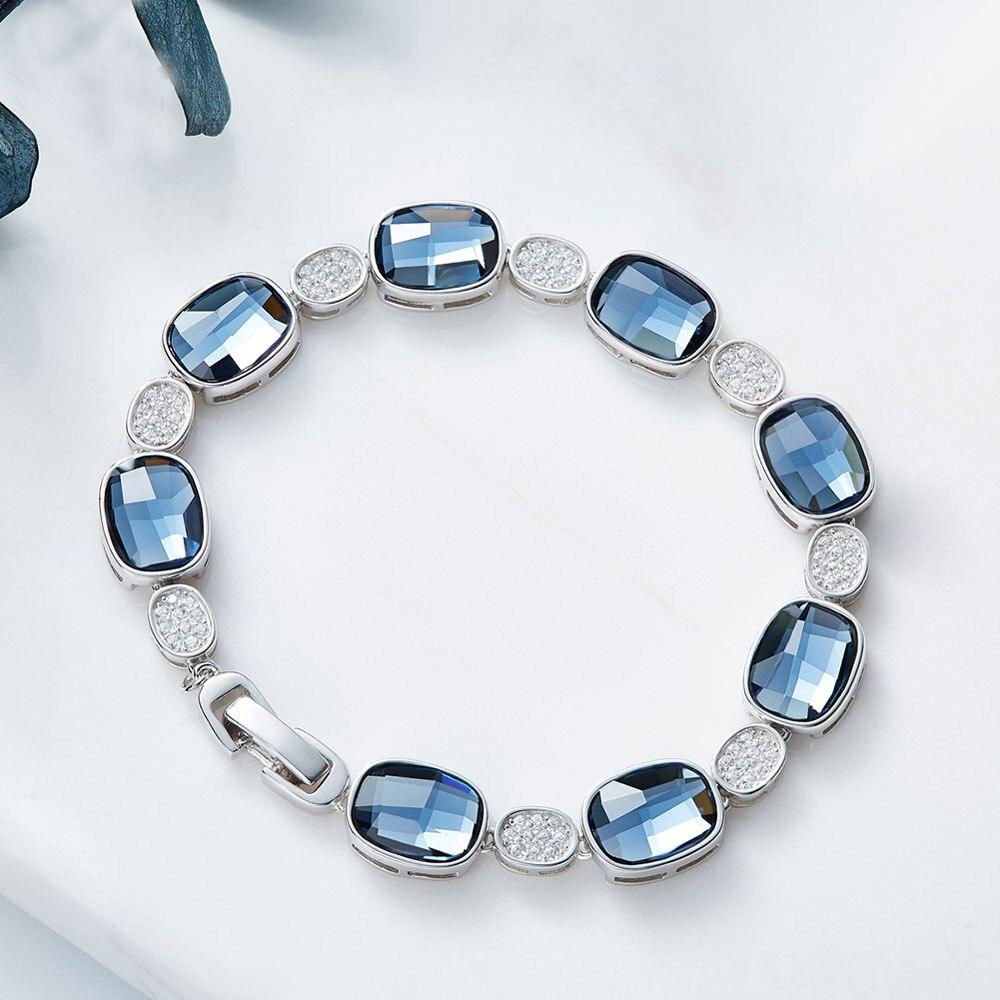 OLOEY luksusowe kryształy bransoletki dla kobiet 100% prawdziwe 925 srebro bransoletka srebrna bransoletka drobne akcesoria biżuteria 2018 nowy YMB004 w Bransoletki i obręcze od Biżuteria i akcesoria na  Grupa 2