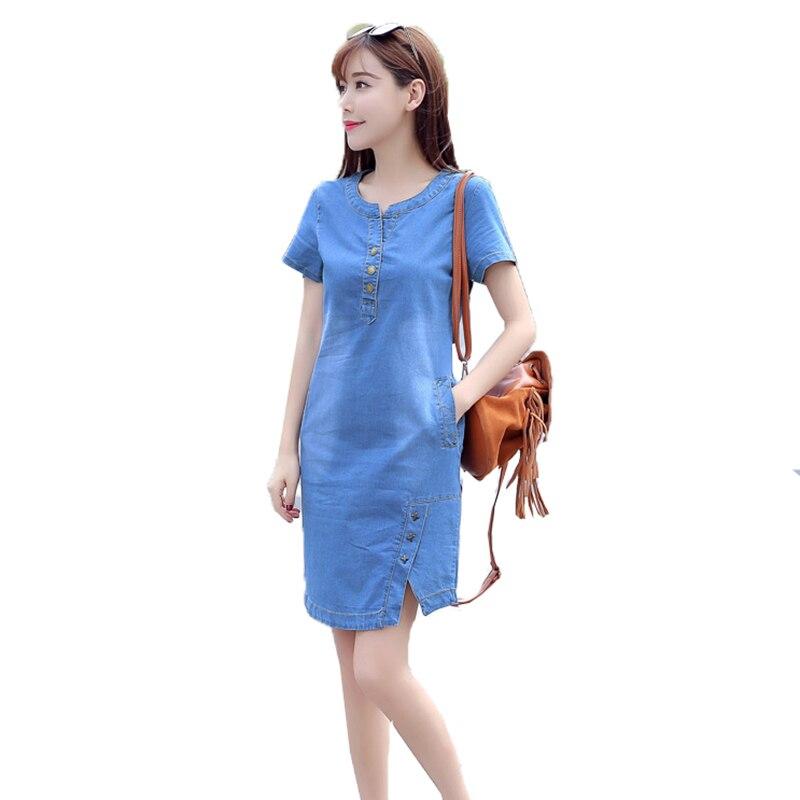 2019 New Women Denim Dress Korean Style Feminino Vestido Summer Casual O-Neck Button Dresses Blue Plus size Short sleeve A207