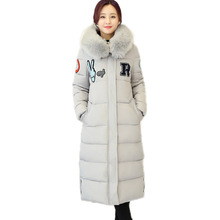 Black Winter Jacket Women 2016 Casual Hooded Artificial Wool Collar Parkas Mujer Invierno Pluma Plus Size Long Cotton Coat
