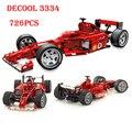 Decool 3334 Формула Серии Транспорта 1:10 Гоночный Автомобиль Модели 726 шт. Модель Строительный Блок Устанавливает Образования DIY Кирпичи Игрушки leping