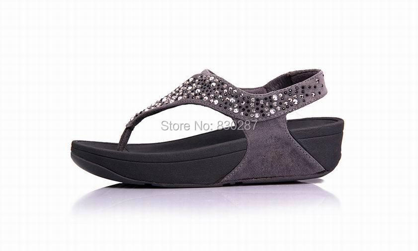 4d77410ae9 US $64.0 |2014 Fashion cheap flip flops suisei sandals brand womens wedges  slides summer shoes flats Black,Blue,Khaki,Grey-in Women's Sandals from ...