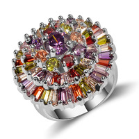 Crystal Zircon Garnet Simulated Emerald 925 Sterling Silver High Quantity Engagement Wedding Ring Size 6 7 8 9 10 11 F1586