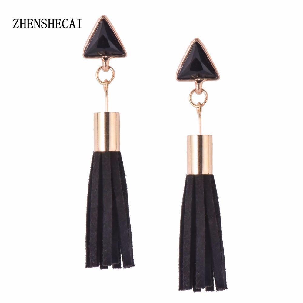 PU Leather Tassel Drop Earrings Rose Gold Capchain Handmade Earrings Friendly Fashion Jewelry Charm Handicraft