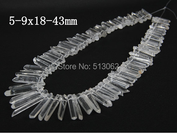 Clear Raw Crystal Point Top Drilled Tusk Stick Pendant beads AA Grade Quality Polished Crystal Quartz