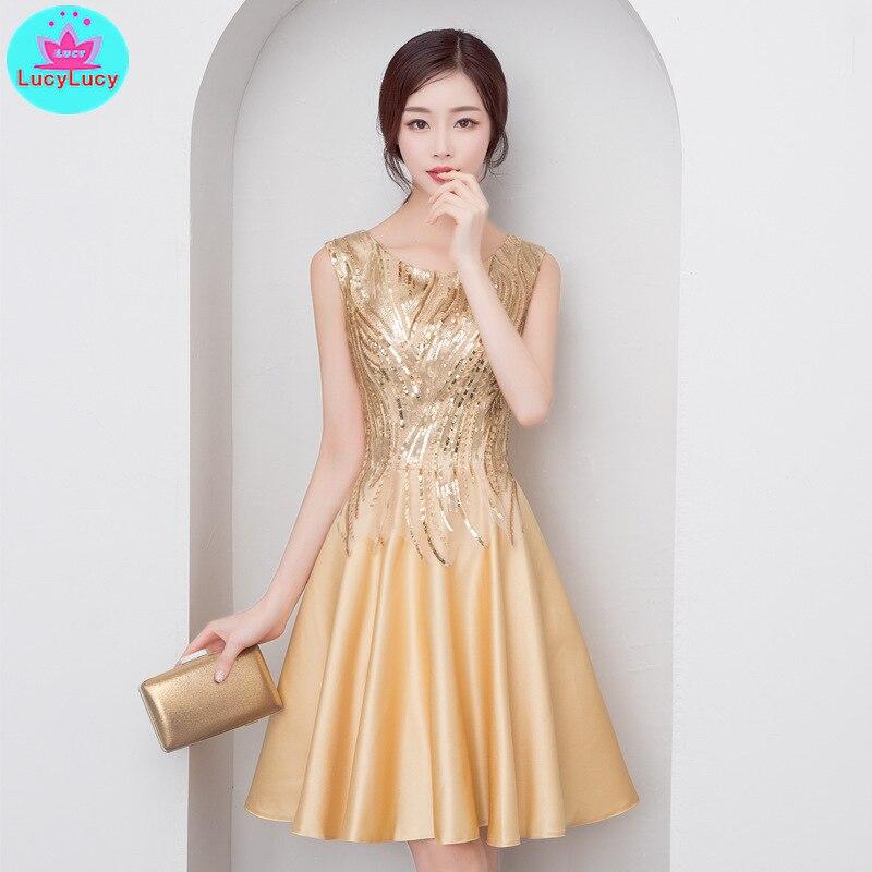 2019 summer new women's socialite party elegant slim gold glitter party dress short paragraph Knee Length  Zippers  V Neck-in Dresses from Women's Clothing    1