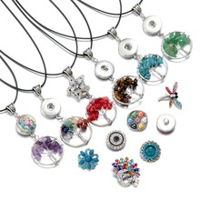 6 Colors Natural Stone Beads Silver Plated 30mm Mini Tree of Life Pendant Necklace Snaps Jewelry Fit 18mm Snap Buttons DZ1724a-f(China)