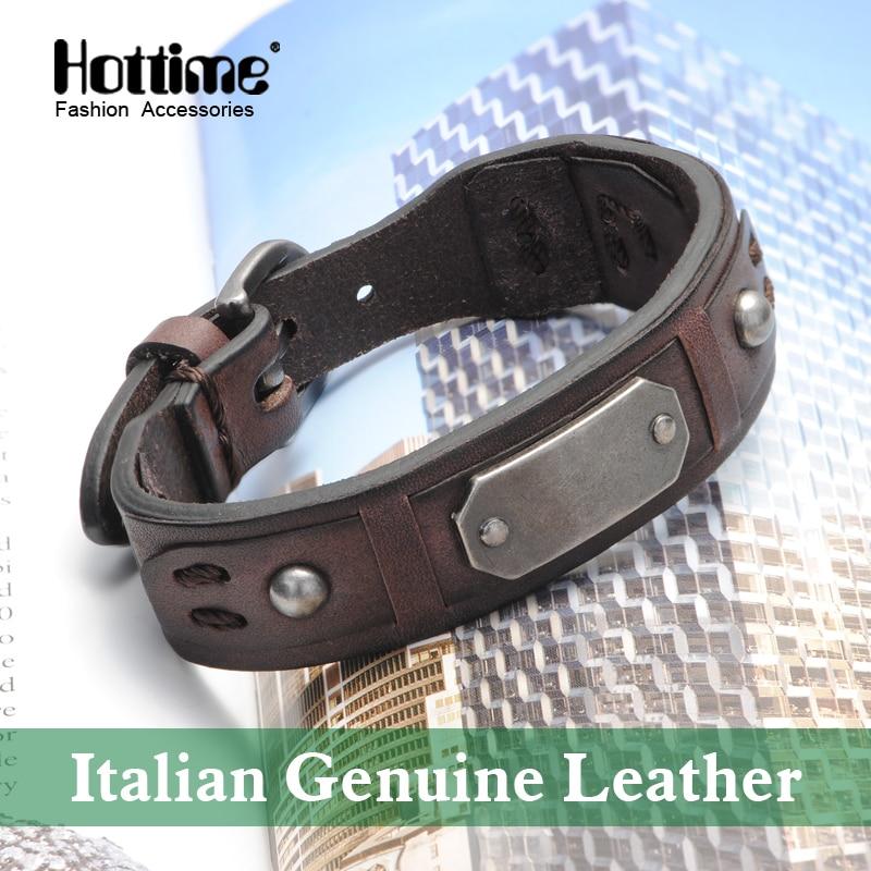Free shipping Vintage Bracelet Charm Brown Italian Genuine Leather Bracelets Men Bracelets For Women Best Friends Jewelry PG009 nidin 2017 men jewelry brown genuine leather bracelets