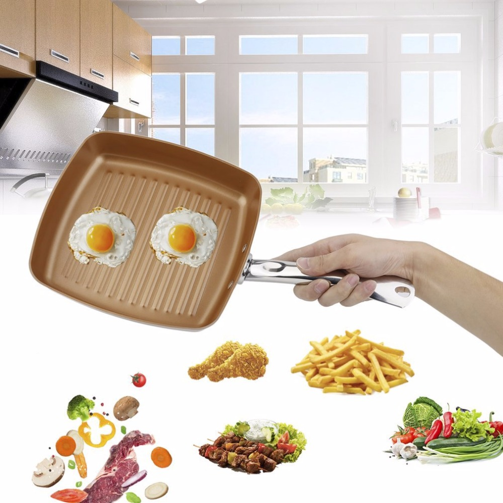 Copper Bottom Coating Non-Stick Surface 10.5 Square Grill Pan Ti-Cerama Safe Oven Cookware Kitchen Tool for Baking Barbecue