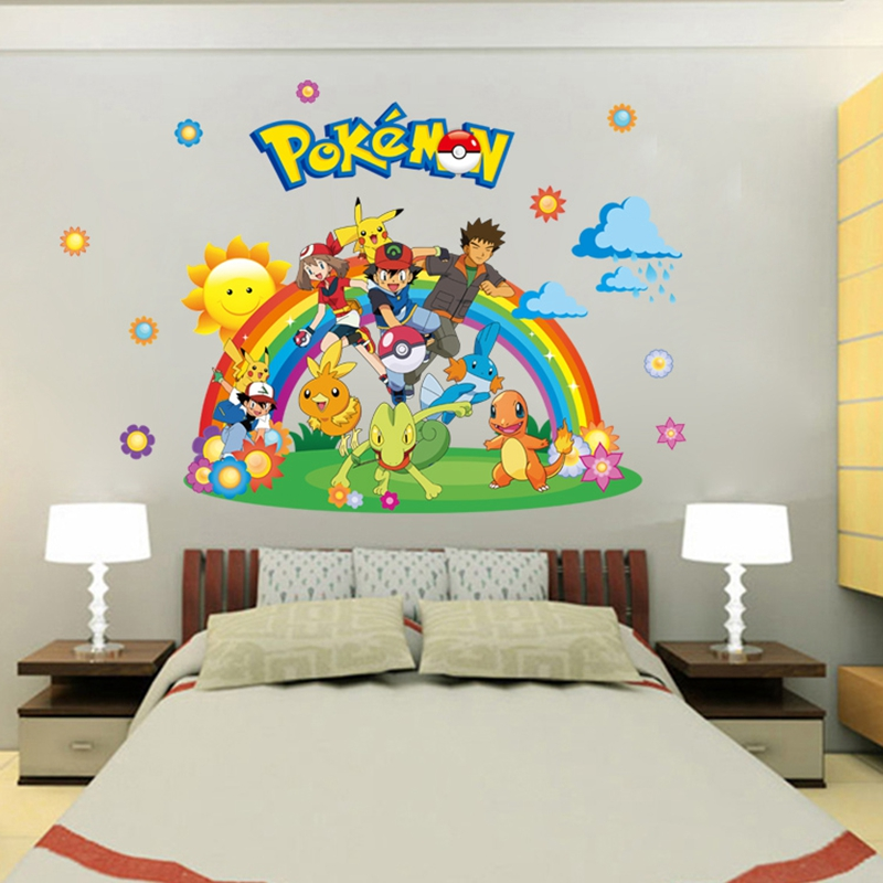 new arrival pokemon go wall stickers for kids rooms home decorations pikachu wall decal. Black Bedroom Furniture Sets. Home Design Ideas