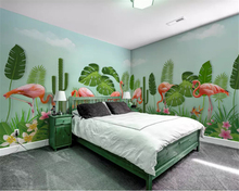 beibehang wall paper Modern hand-painted plant flamingo custom green silky whole house background papel de parede 3d wallpaper