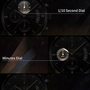 Image 4 - Часы наручные NIBOSI мужские с хронографом, спортивные деловые Кварцевые водонепроницаемые в стиле милитари, золотистые