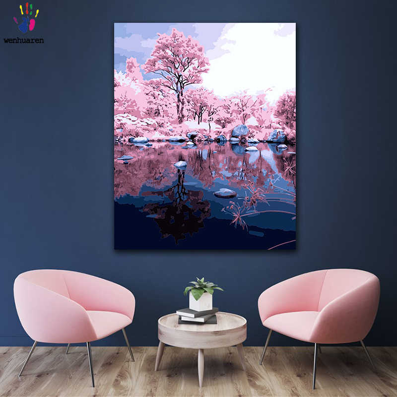 DIY colorings pictures by numbers with colors Reflection of pink woods picture drawing painting by numbers framed Home