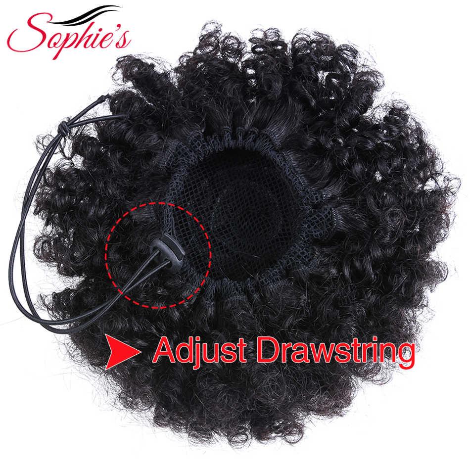 Sophie's бразильский кудрявый парик высокий слоеный конский хвост шнурок короткий Remy конский хвост клип в 100% человеческих волос конский хвост Расширения