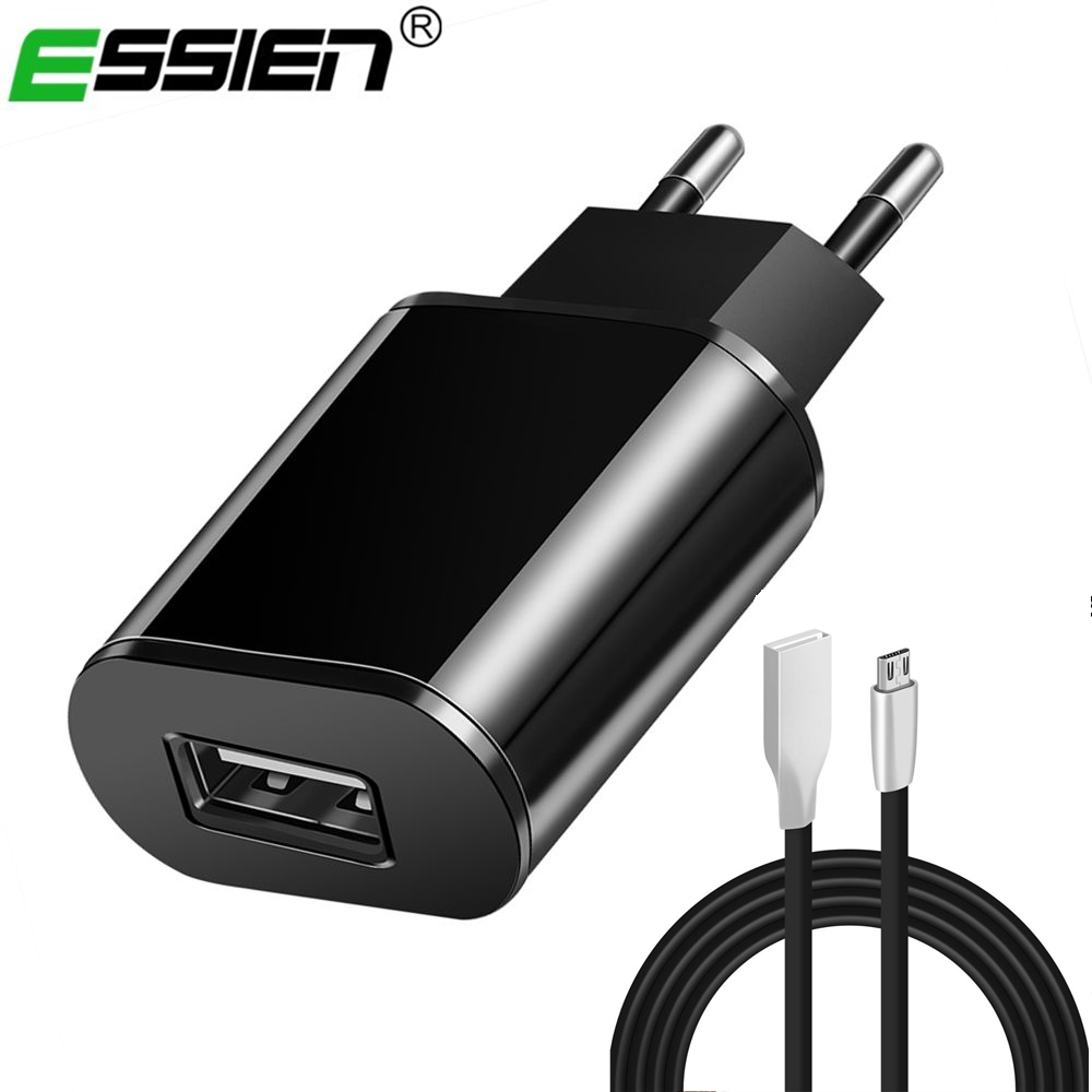 Essien EU Plug Charger mobile phone usb charger 5V 2A Wall Charger Adapter For Samsung Huawei HTC With 2m USB Cable for Xiaomi