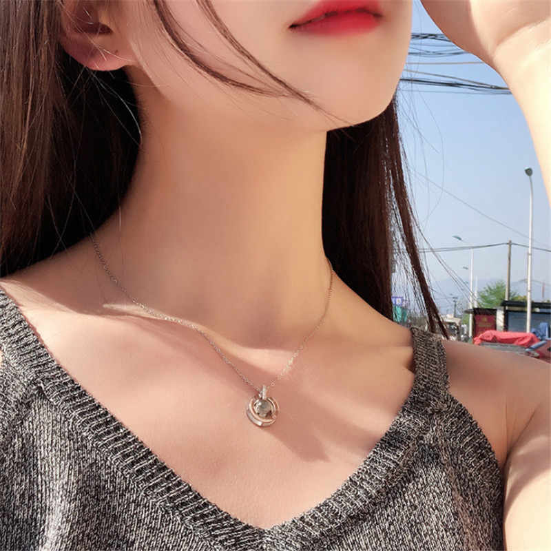 Silver Round Pendant I LOVE YOU In 100 Languages Projection Necklace For Memory Of LOVE Choker Collier Wholesale