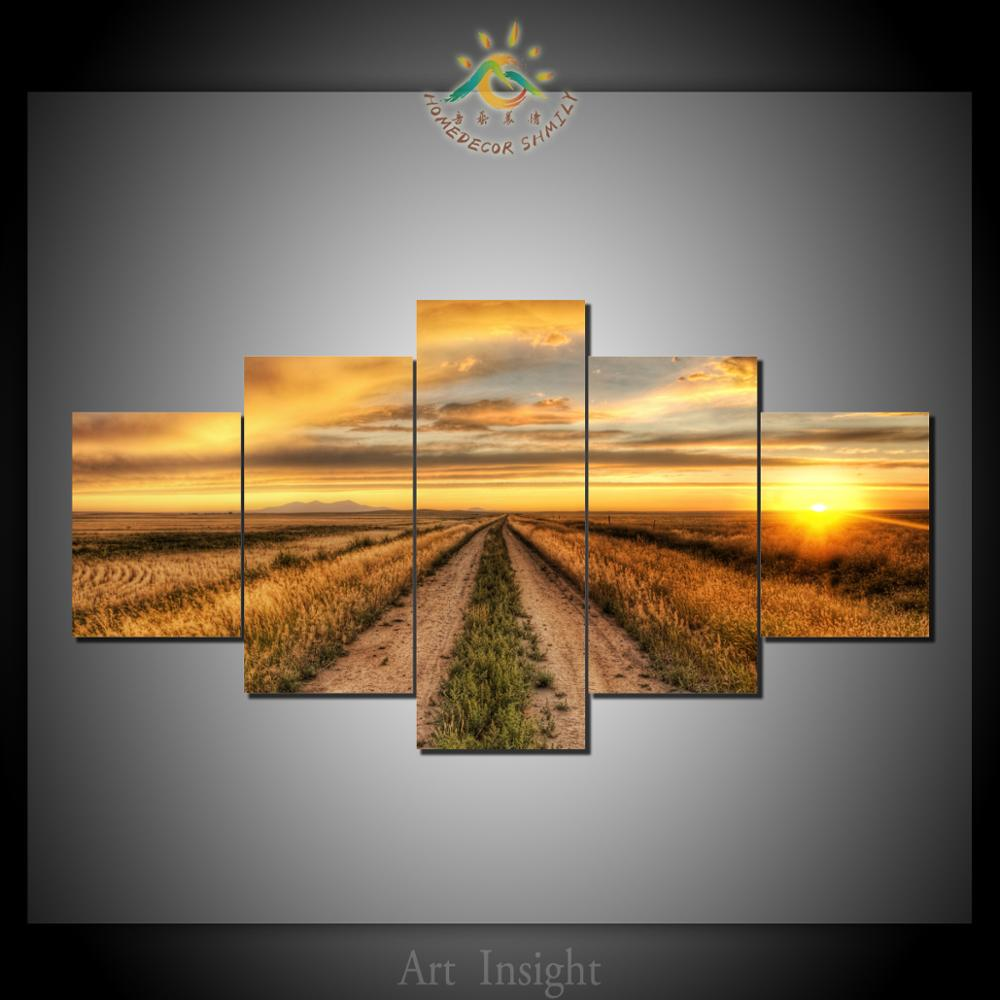 5 Pieces Country Field Modern Wall Art Pictures HD Printed Canvas Painting Modular Pictures HD Paints Home Decoration