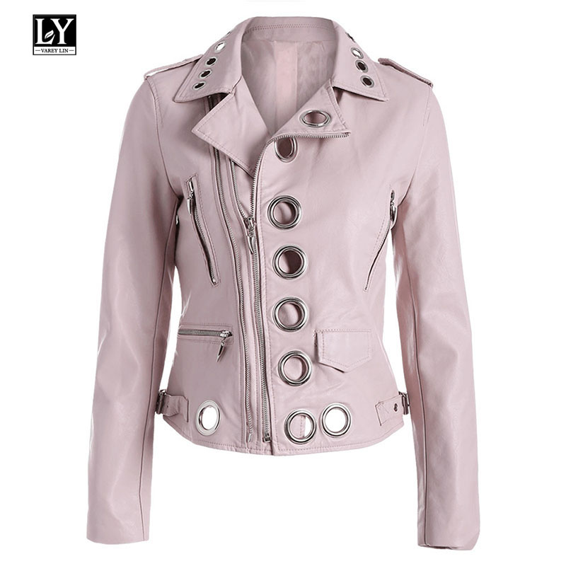 Ly Varey Lin Women Pu Motorcycle Soft Pink Faux   Leather   Jacket Bomber Coats Lady Black Punk Rock   Leather   Jacket Outerwear