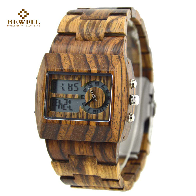 где купить BEWELL Wood Simple Watches with Wooden Strap Luminous Display Square Business Watch for Man Watches Christmas Family Gift 021A по лучшей цене