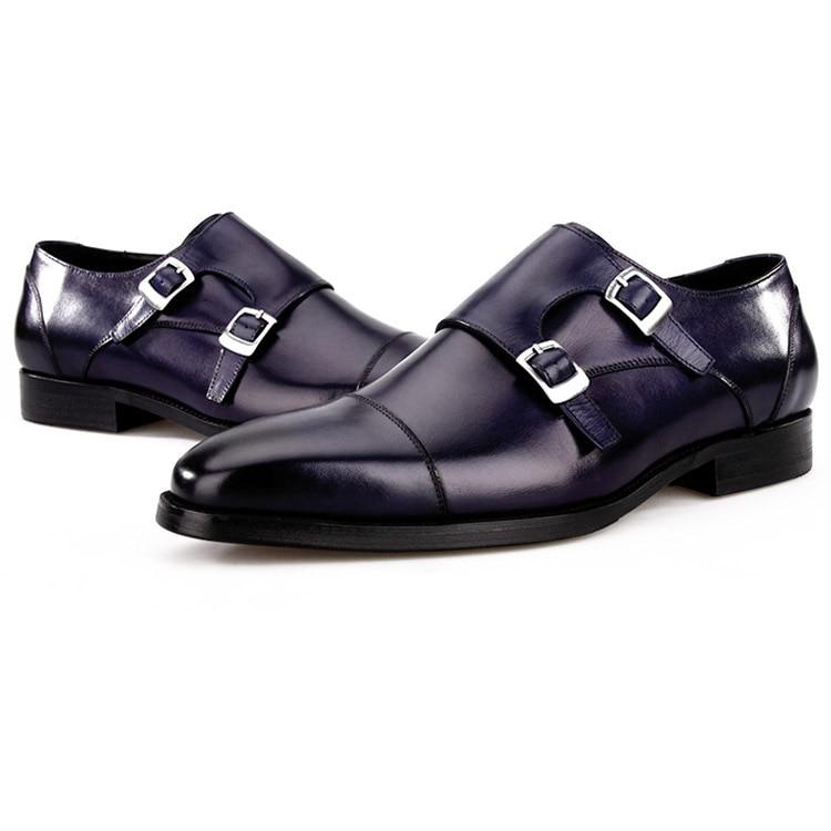 цена на Fashion Black / Blue Double Monk Strap Business Shoes Genuine Leather Mens Wedding Dress Shoes