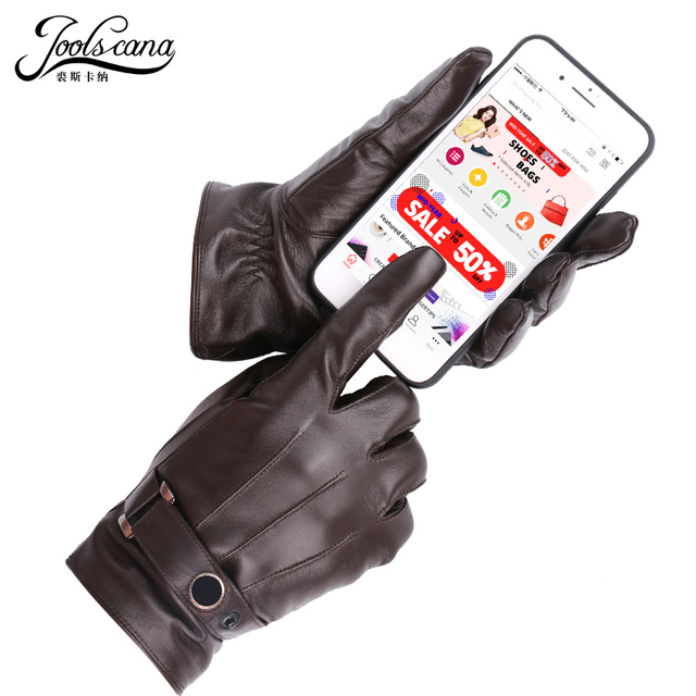 JOOLSCANA top1gloves men genuine leather winter Sensory tactical gloves fashion wrist touch screen drive autumn good quality 2