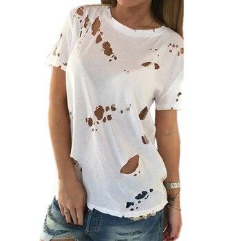 T-shirts femme en coton sexy élégant à manches courtes déchirés Tops Casual T-shirt ample en vrac S-XXL Noir Blanc Tees 2018 acheter des vêtements pour femmes