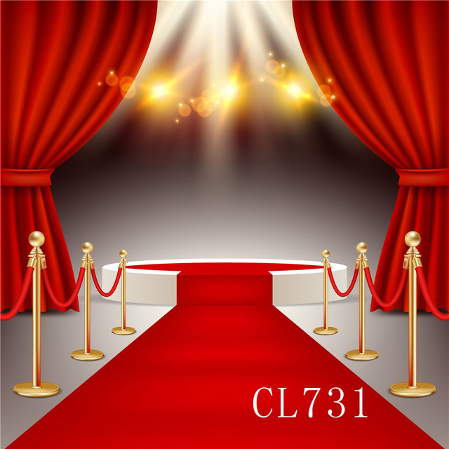 White Studio Background With Podium: White Round Winners Podium With Red Carpet Curtains Party