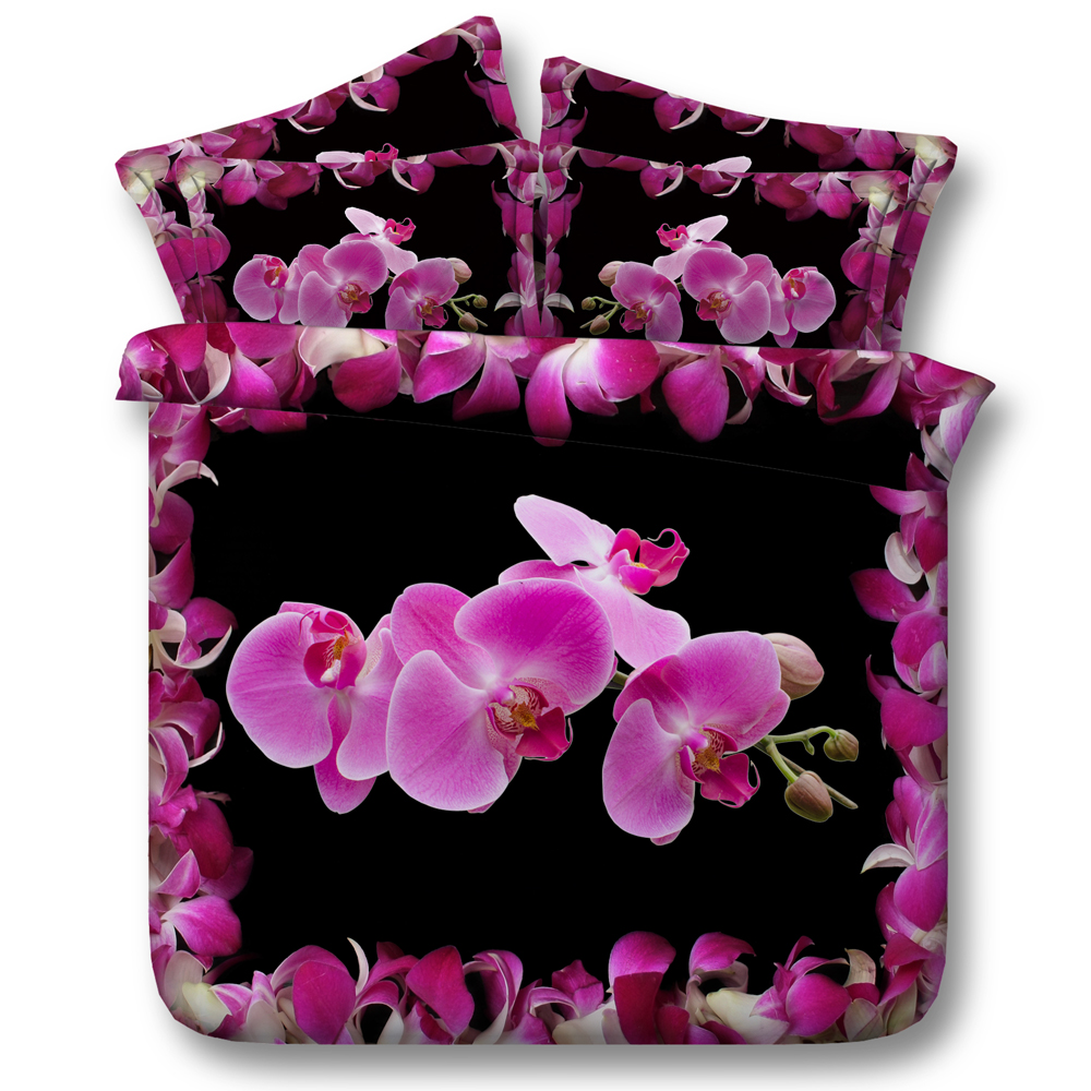 Black and pink bed sheets - Pink Orchid Quilts Bedding Sets 3d Printed Girl King Queen Twin Black Comforter Duvet Cover Japaness