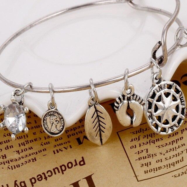 ZOZHI Antient Silber charme Armband Einstellbar Erweiterbar Draht ...