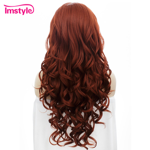 Image 3 - Imstyle Red Wig Lace Front Wigs For Women Long Wavy Synthetic Lace Front Wig Heat Resistant Fiber Glueless Cosplay Ginger Wigs