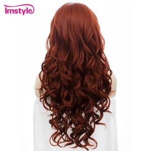 Image 3 - Imstyle Rode Pruik Lace Front Pruiken Voor Vrouwen Lange Golvende Synthetische Lace Front Pruik Hittebestendige Vezel Lijmloze Cosplay Gember pruiken