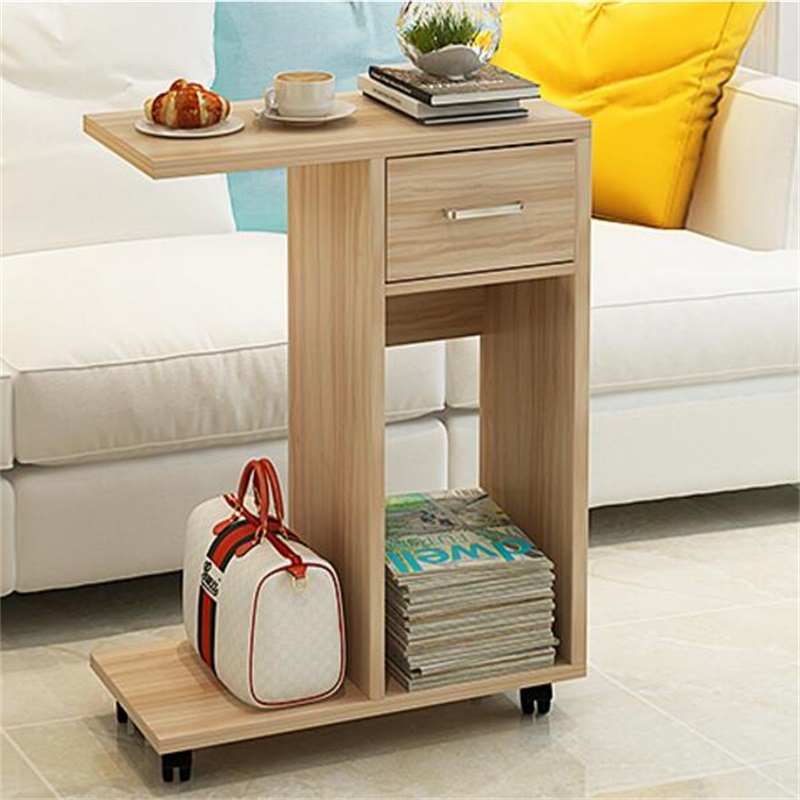60x29x76CM Modern Wood Bedside Table Mobile Sofa Side Living Room Storage Cabinet With Drawer