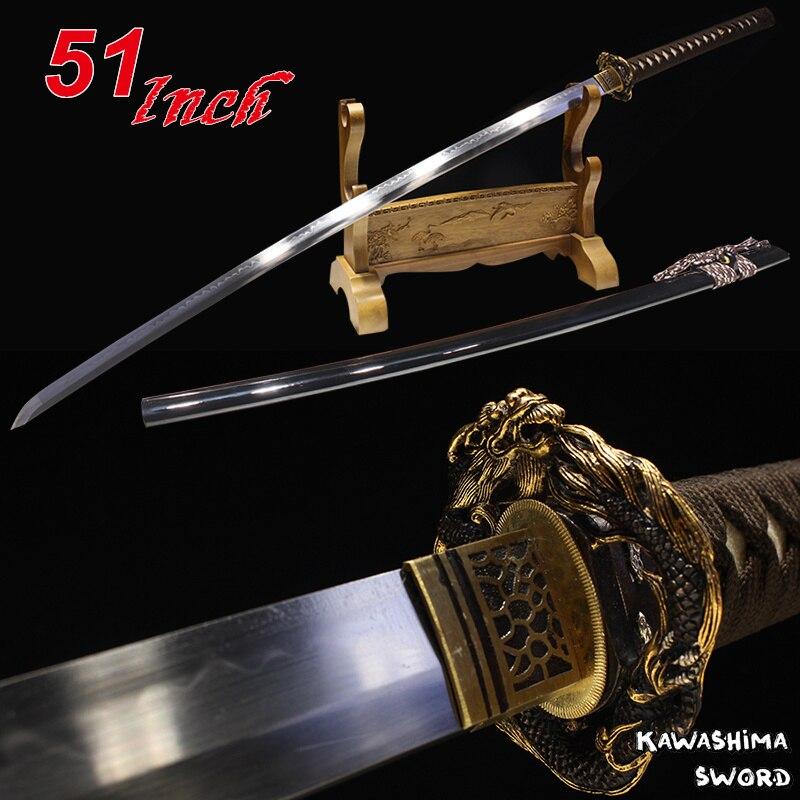 51 pouces longueur japonais Nihonto Katana fait à la main T10 acier lame argile trempé pleine Tang rasoir tranchant bois gaine samouraï épée
