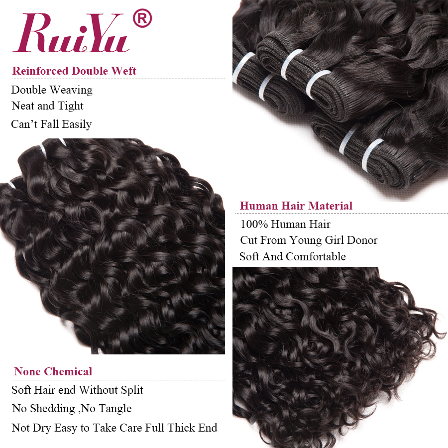 Peruvian Water Wave Bundles With Frontal Closure Remy Human Hair Bundles With Closure 3 Bundles with Frontal Closure RUIYU