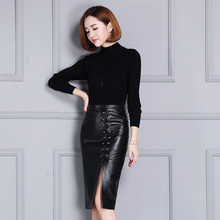 Women sheepskin slim over-the-knee leather skirt
