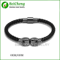BC GUN Black Twin North Skull Bracelet Genuine Leather Bracelet Stainless Steel Northskull High Quality Free Shipping