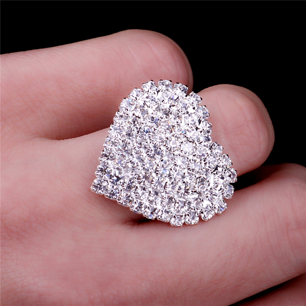 Big Heart Wedding Rings For Women white silver filled Jewelry ...