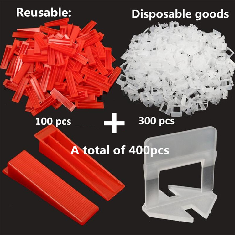 400pcs Tile Leveling System 300 Clips With 100 Wedges Plastic Spacers Tiling Tool Plastic1.5mm Gap Prevent displacement (6)