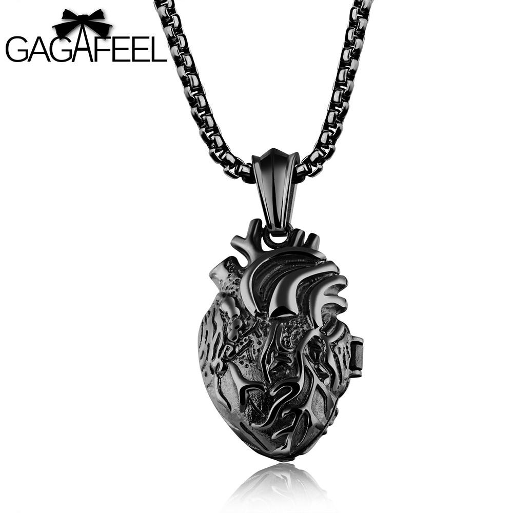 GAGAFFEL Herz Anhänger Halsketten Männer Schmuck Schwarz 316L Edelstahl Halskette Anatomisch Orgel Punk Charme Halskette Geschenk