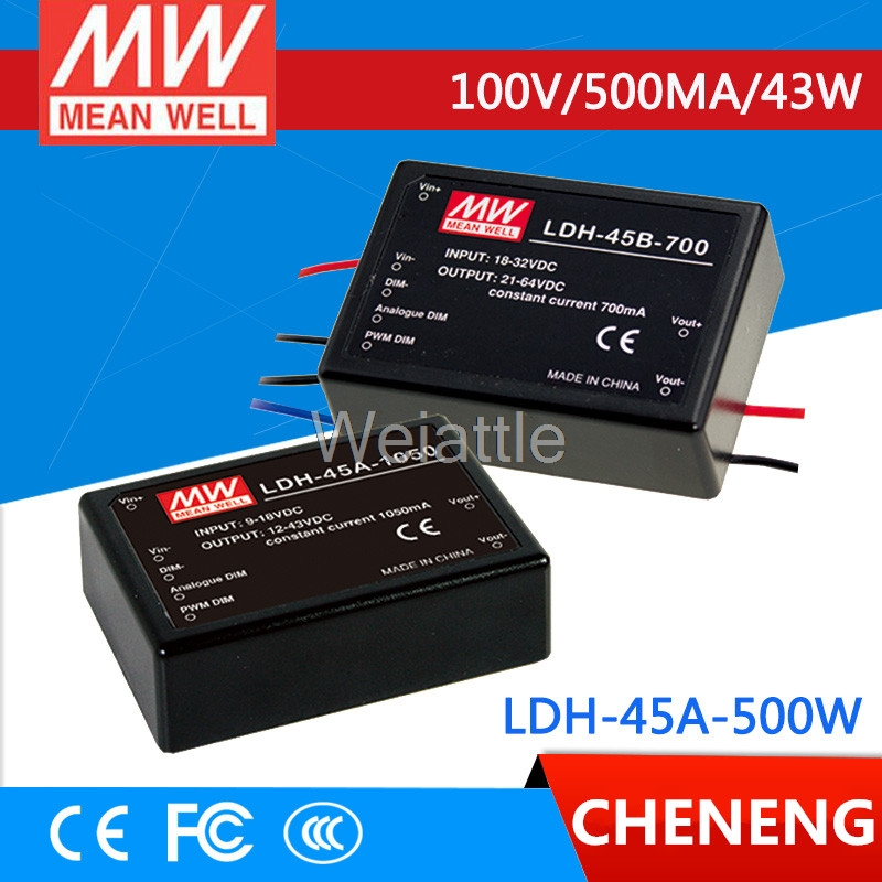 MEAN WELL original LDH-45A-500W 12 ~ 86VDC 500mA meanwell LDH-45A 43W DC-DC LED driver wire style image